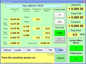 CNC Infeed Run Screenshot
